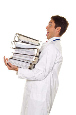 free dish: A doctor in trouble with stacks of files. Bureaucracy in the hospital.