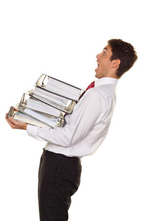 free dish: A manager in the stress with stacks of files. Bureaucracy in administration Stock Photo
