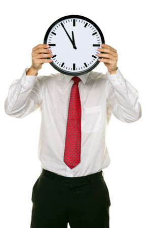 A manager in the head before stress with Clock. Working in the office. photo