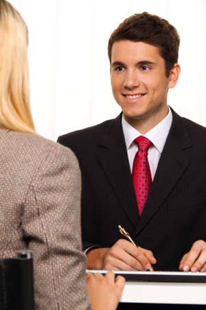 notary: Consultation. Consultation and discussion with consultants and customers. Stock Photo