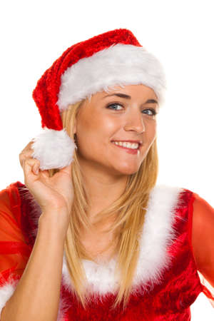 Santa Claus at Christmas with packages and gifts. photo