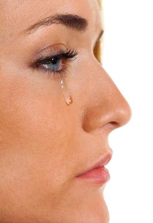 Una mujer triste llora l�grimas. Foto icono de miedo, la violencia, la depresi�n  Foto de archivo - 7856975