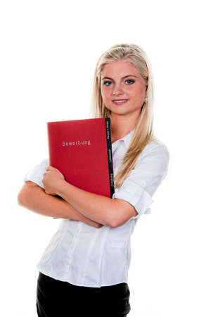 Young woman looking for a job with Application folder: photo