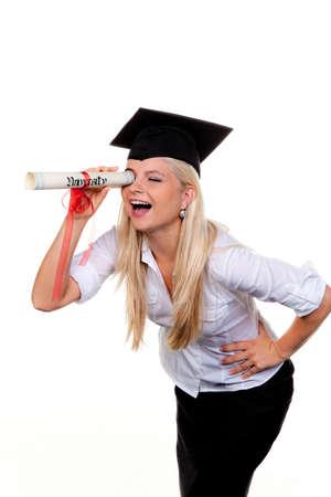 Junge Frau mit Hut Arzt auf der Suche nach Arbeit: