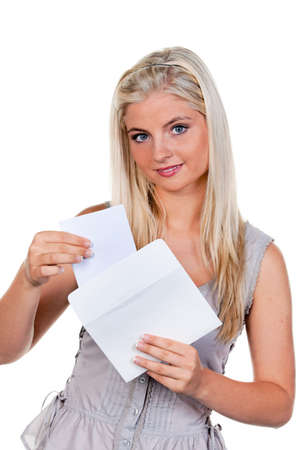 incorporation: Young woman is a letter in an envelope.
