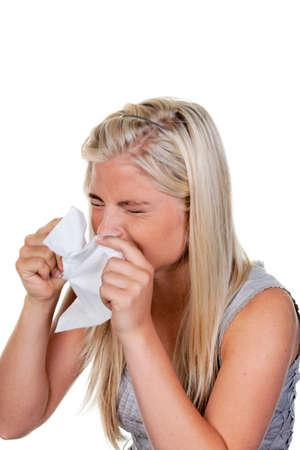 sneezing: Donna con allergie, febbre da fieno e fazzoletto  Archivio Fotografico