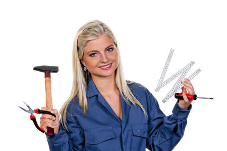 Pretty young woman with a tool mechanic photo