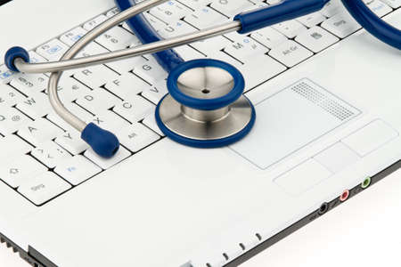 A stethoscope in a hospital is on your computer keyboard.
