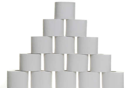 A pyramid of toilet paper against white background Stock Photo - 7931371