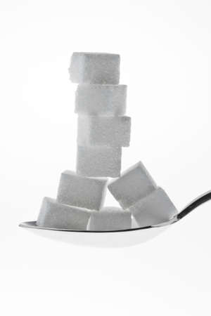 sugar cubes: Many pieces of sugar for a sweet isloiert on white background