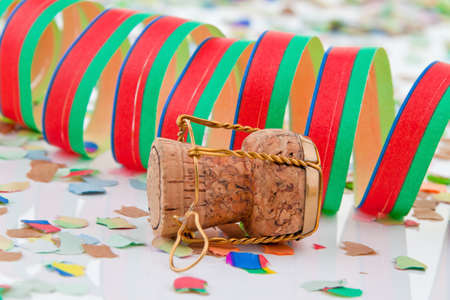 prickling: Champagne corks and garlands in the Carnival and Carnival Stock Photo