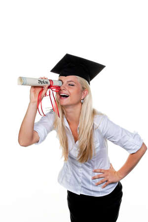 examiert: Young woman with hat doctor looking for work: