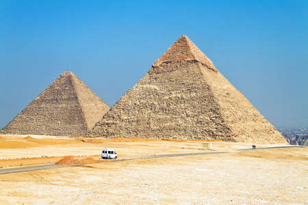 Highlight of a trip to Egypt are the Pyramids of Giza. Stock Photo
