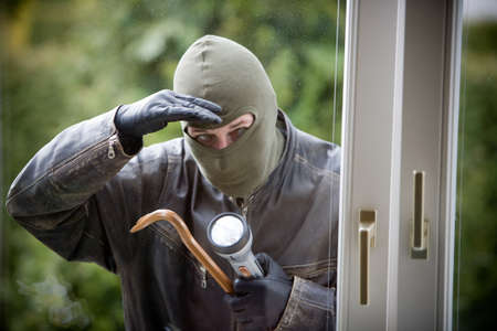 proceedings: A burglar at a window of a house.