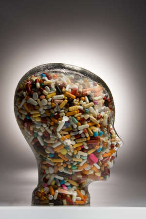 generic drugs: Many different tablets and medicines in a Bowl