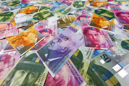 swiss: Swiss Francs, money and currency of Switzerland Stock Photo