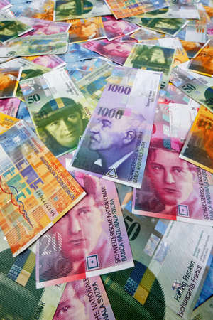 budgets: Swiss Francs, money and currency of Switzerland Stock Photo