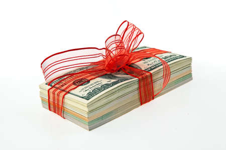 christmas bonus: Dollar Currency notes for a gift. Money as a gift. Stock Photo