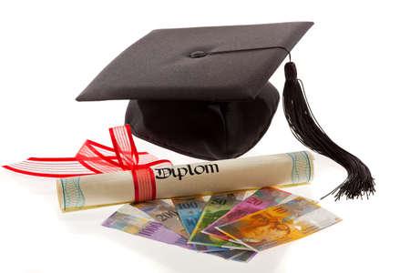 doctoral: Franchi Svizzera e Malta. Simbolo per i costi di formazione. Archivio Fotografico