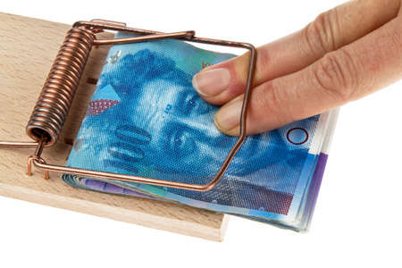 seemed: Mousetrap with Swiss francs. Example picture of debt trap