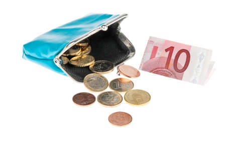 indebtedness: A purse with euro banknotes and coins Stock Photo