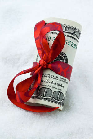 rebates: Dollar Currency notes for a gift. Money as a gift. Stock Photo