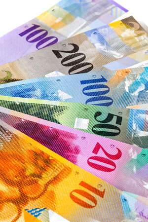 borrowing: Swiss Francs, money and currency of Switzerland Stock Photo