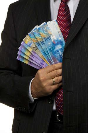 frank szwajcarski: Menedżer, franka szwajcarskiego w rÄ™ce Zdjęcie Seryjne