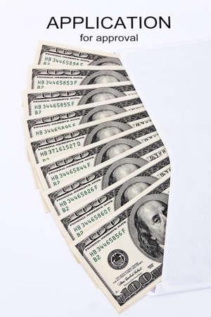dollar bills: Molti dollar bills, con una richiesta di inglese