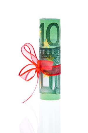 banconote euro: Banconote in euro con maglie. Immagine per donazioni monetarie Archivio Fotografico
