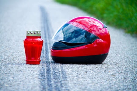 An accident with a motorcycle. Traffic accident and skid marks on road. Representative photo. Stock Photo - 7993779