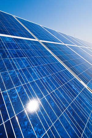 bioenergy: A solar system for solar energy against a blue sky with clouds