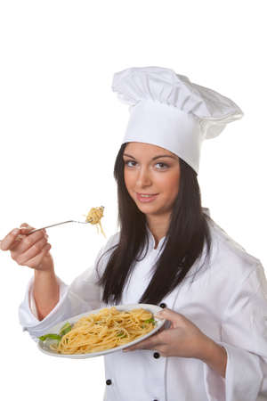 tried: Young cook tried her home-cooked pasta dish from Stock Photo