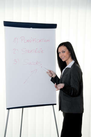 Coach flip chart in French. Training and education Stock Photo - 8007236