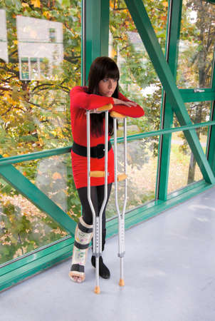 Young woman with a leg cast and crutches in hospital Stock Photo - 8007620