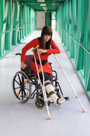 Young woman with a leg cast and wheelchair in the hospital photo