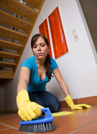 free dish: Young housewife in her apartment clean. Stock Photo