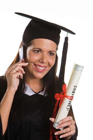doctoral: Giovane donna come studente dopo la laurea con successo con il dottorato  Archivio Fotografico