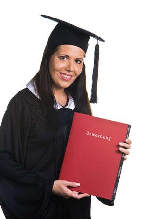 Junge Frau als Student nach dem erfolgreichen Abschluss mit Promotion Standard-Bild