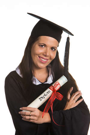 doctoral: Young woman as a student after successful graduation with doctoral