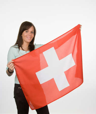 Young Woman with Swiss flag. Swiss flag Stock Photo - 8114823