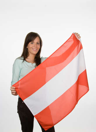 Young Woman with Austrian flag. Austrian flag Stock Photo - 8114826