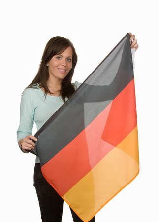 Young woman with a German flag. Flag of Germany. Stock Photo - 8114841
