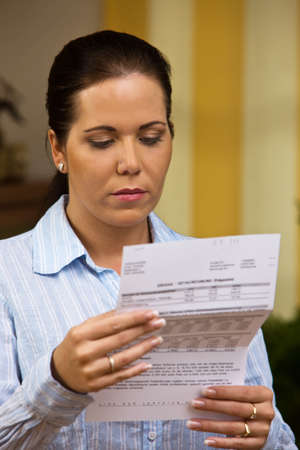 bankruptcy: A woman with unpaid bills