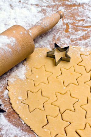 biscuit dough: Baking cookies and biscuits during Advent. Preparing for Christmas