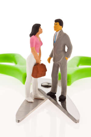disparity: Income gap. Different income between husband and wife Stock Photo