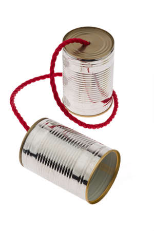 custumer: Two tin cans with string as a symbol fKommunikation photo.