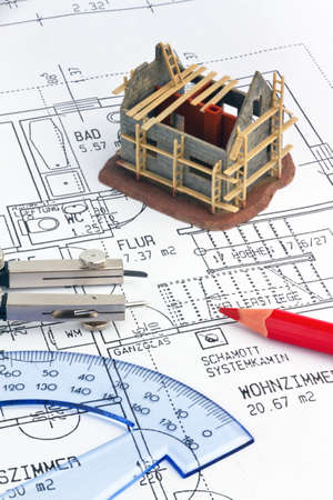 house plan: Blueprint for a house. P�n drawings and an architect. Stock Photo