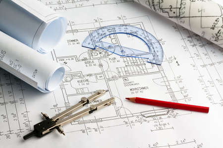 proprietary: Blueprint for a house. P�n drawings and an architect. Stock Photo