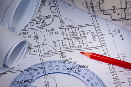 Blueprint for a house. P�n drawings and an architect. Stock Photo - 8231994
